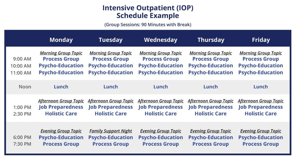 Intensive Outpatient Schedule (IOP)