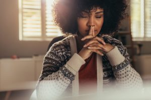 woman participates in mindfulness training